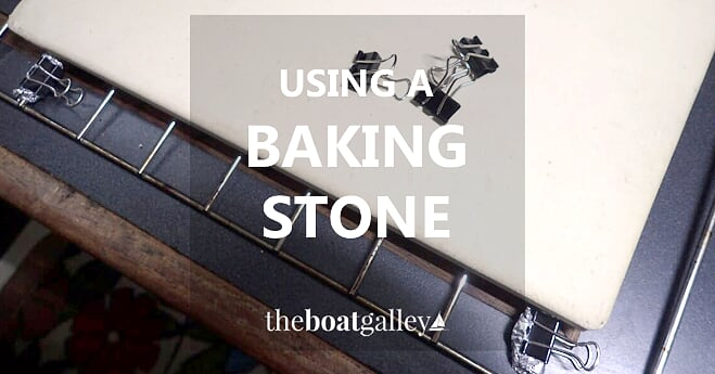 How to use a baking stone (also called a pizza stone) in a small oven (boat, RV or tiny home) to eliminate hot spots and solve other common small oven problems.
