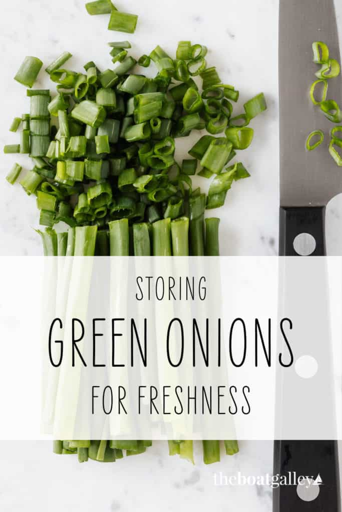 Green onions will last several months and the tops actually regrow with this storage method. Better yet, they don't take up space in the refrigerator!
