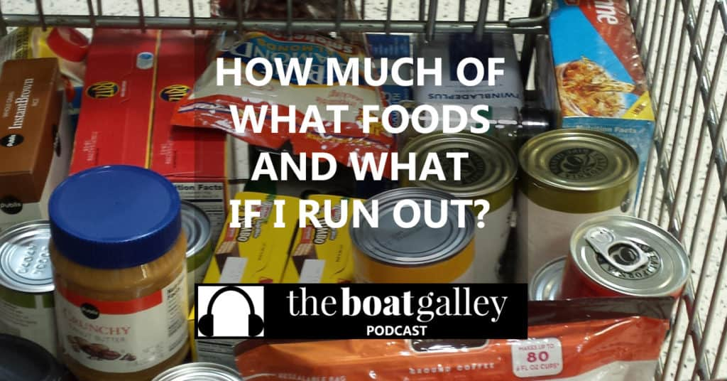 How do you decide what food to take and how much you'll need. How do you translate your shopping on land to shopping for a boat trip?