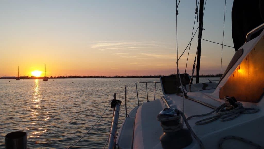 Sunset from the deck of a sailboat.