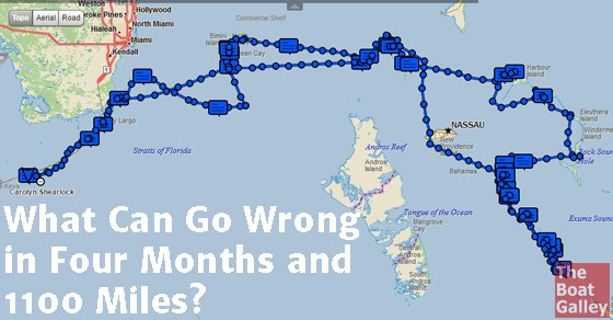 Four months in the Bahamas, 1100 miles. We knew some things would break, it was just a question of what and whether we had the parts to fix it.