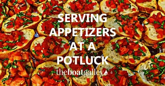 Two fun ways to serve appetizers at large-group potlucks so that people in line are sure to get some -- and have something to do while standing in line!