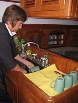 Jan using a chamois as a dish drainer