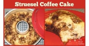 Oh-so-easy and delicious recipe for a from-scratch coffee cake. Designed to be mixed by hand and bake in a tempermental oven!