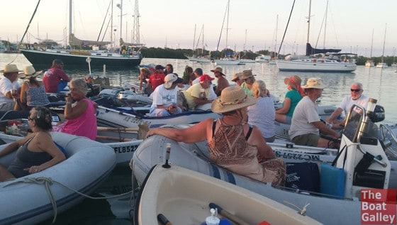 20+ dinghies rafted up for happy hour