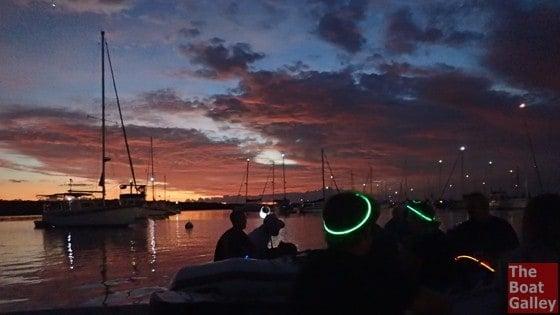 Glow sticks can really enhance a dinghy drift