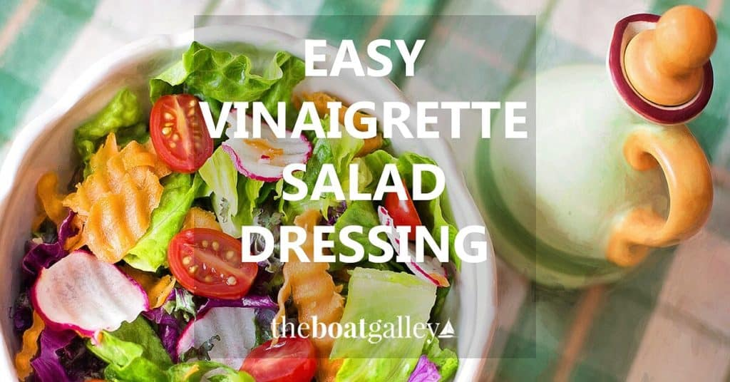 Quick and easy recipe for vinaigrette salad dressing made from ingredients you have on hand and naturally lower calorie than most vinegar and oil dressings. No refrigeration needed, either!