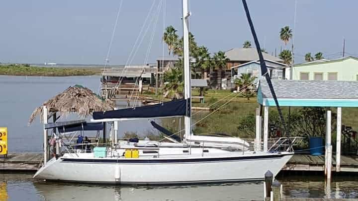 Sailboat at dock.