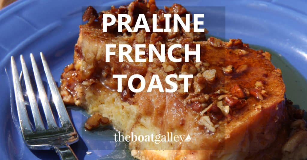 Easy and delicious baked Praline French Toast that does NOT require overnight refrigeration. Spices, nuts and yummy French Toast!