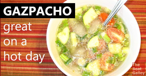 Easy gazpacho recipe, perfect for hot days! Great to take along on hikes in a Thermos, too.