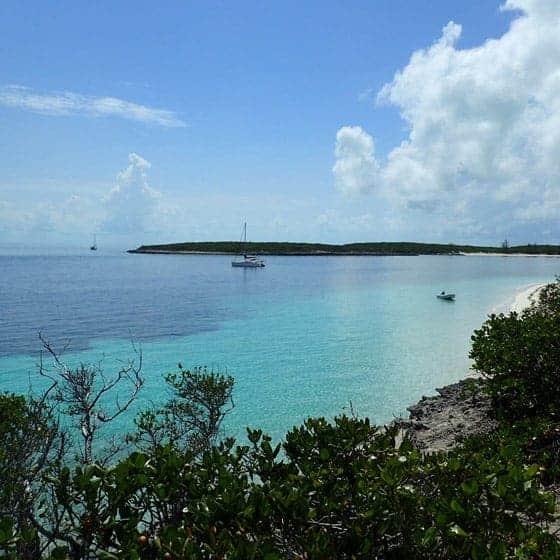 At anchor in the Bahamas