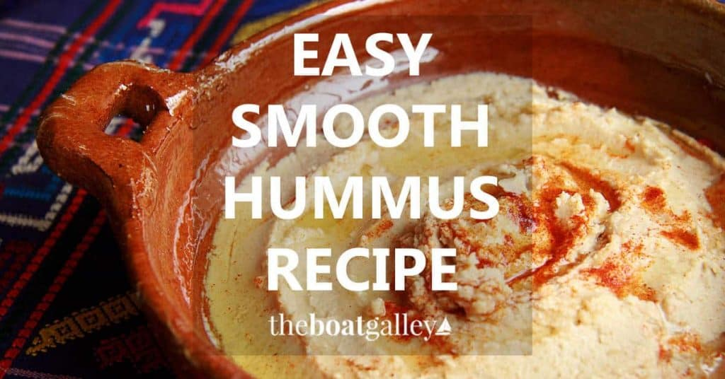 A ridiculously easy recipe for super-smooth hummus without using electrical appliances. A wonderful treat from ingredients that don't have to be refrigerated.