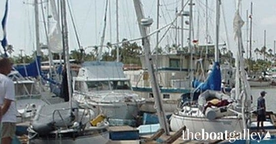 Boats with torn sails from Hurricane Marty