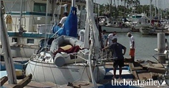 Boats damaged in Hurricane Marty