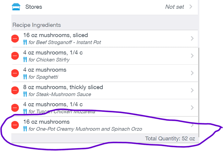 Ingredient List Details - matched with recipe