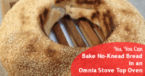 It won't have quite the same color and texture as when baked in a conventional oven, but No-Knead Bread is every bit as delicious when baked in the Omnia Stove Top Oven. Here's how to do it!