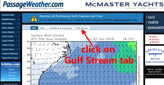 How to find the Gulf Stream tab on PassageWeather