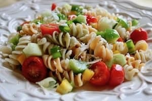 How to make a great rice or pasta salad for a group or to eat over several days--great make-ahead meal for passages!