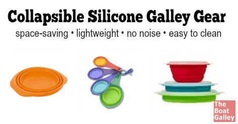 There's lots of collapsible silicone kitchen gear available. It's a great choice for the galley, taking up less space and not rattling!