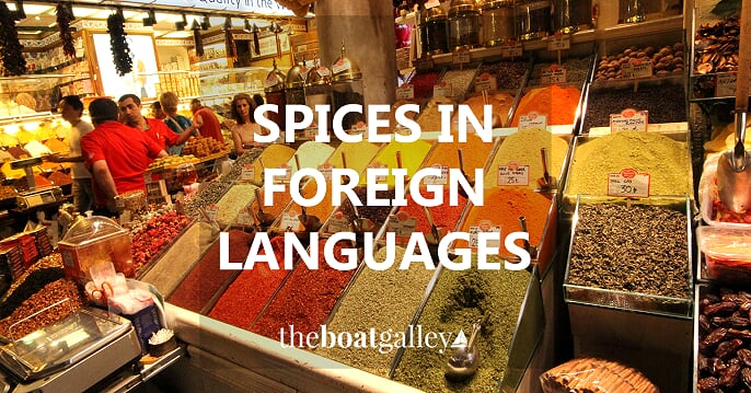 Common spice names in Danish, English, German, French, Spanish and Italian.