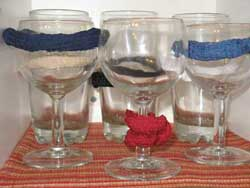 A one-minute, almost free simple solution to stop glasses from clanking on a boat underway or in a rolly anchorage.