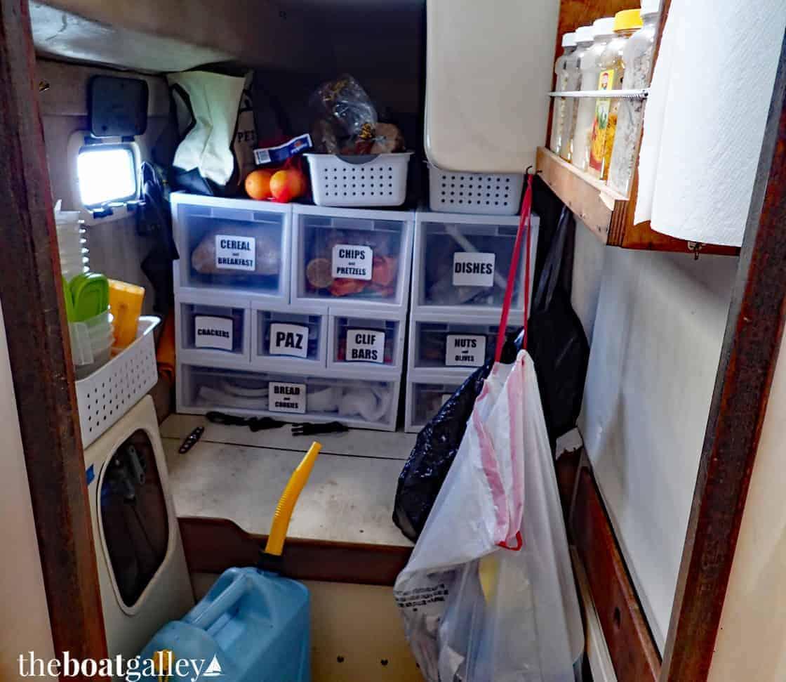 Galley storage: plastic drawers