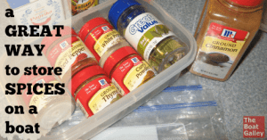 A great way to store spices if you have a refrigerator on your boat -- less wasted space and longer life for the spices.