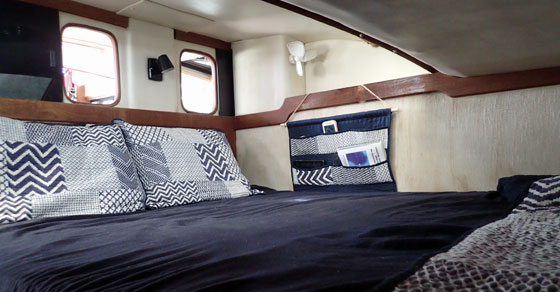 Comfortable bed on a boat