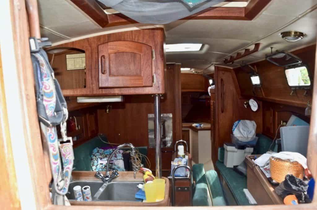 Messy sailboat interior.
