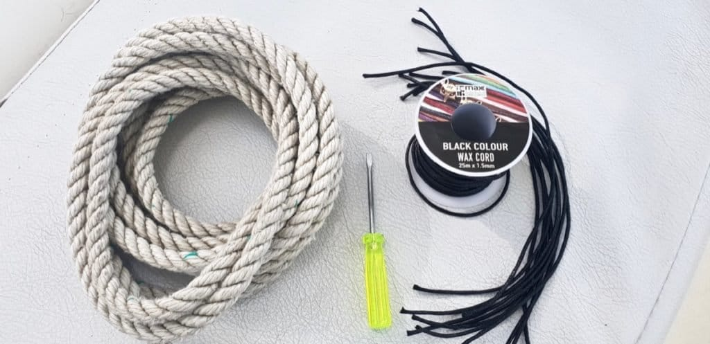 Make your own boat clothesline with 3 strand line, waxed cord, and a flat head screwdriver.