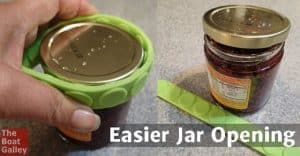 Gecko Grips are great for making a cutting board non-slip, and for using as a trivet. But they have really saved the day for me as jar grips!