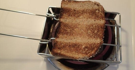The GSI Outdoors toaster -- makes great toast very easily and folds up to almost nothing for storage.